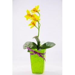 Орхидея искусственная в горшке декорированном БФ90016