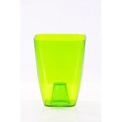 Кашпо пластмассовое Орхидея 13 квадрат зелёный прозрачный 0300T-T02