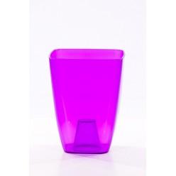 Кашпо пластмассовое Орхидея 13 квадрат фиолетовый прозрачный 0300T-T04