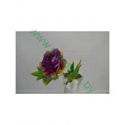 Цветок искусственный Пион с листом одиночный 40 см №3.05