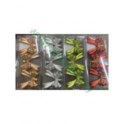 Бантики елочные набор (3шт) 7см. пласт.микс цветов BAI6621