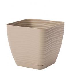 Горшок пластмассовый квадратный  Сахара Петит с подставкой 15 кофе латте 3620-002