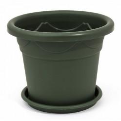 """Горшок пластиковый """"Клематис"""" с подставкой 18 зелёный"""