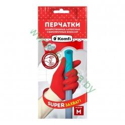 Перчатки хозяйственные латексные сверхпрочные БИКОЛОР М /белый+красный тмKomfi, размер  М BICOIRA2