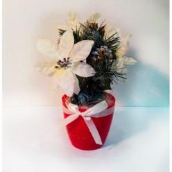 """Цветок искусственный """"Пуансеттия рождественская"""" 23 cм микс BF80019"""