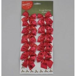 Бантики текстильные рождественские красные TG25994-3, 12 шт/упак