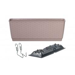 Ящик балконный RATOLLA PW с системой полива, поддоном и крючками мокка 40см 6л