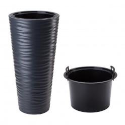 Горшок пластиковый SAND SLIM антрацид с вкладышем d39см h75см 18/45л