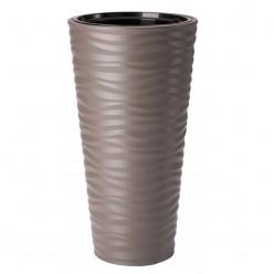 Кашпо пластмассовое Сахара Слим 30 темно-коричневый 2723-068