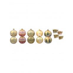 Шары елочные набор (6шт) 7см. пласт.золотые BAI2179
