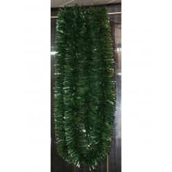 Мишура еловая густая 6м 100 мм зеленая с серебристыми кончиками