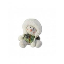Снеговик керамич.11 см красный/зеленый арт. APF440060