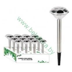 Фонарь садовый на солнечной батерее 7,5х7,5х34,5см нержавещая сталь SOL0618
