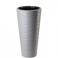 Кашпо пластиковое Сахара Слим 40 светло-серый