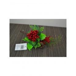 Ветка  рождественская Пуансеттия с шишкой и ягодами