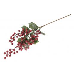 Ветка рождественская с ягодами заснеженная 22см иск A642S-01