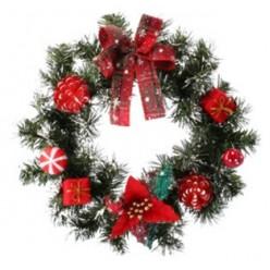 Венок новогодний 30 см красный