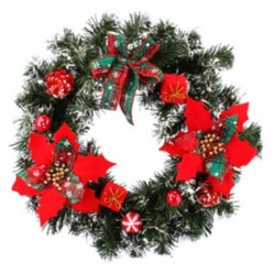 Венок новогодний 40см красный