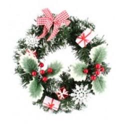 Венок новогодний 30 см красно-белый