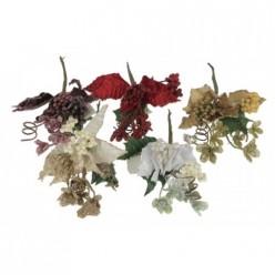 Ветка рождественская декоративная 20см Микс цветов Р2214