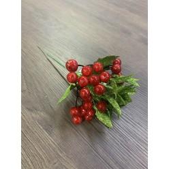 Ветка рождественская с ягодами и листом блест. 21 см иск. A643S-01