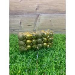 Шары ёлочные золотые 2,5см 36шт/уп S633-02