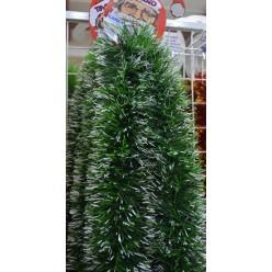 Мишура еловая густая 6м  100мм зеленая с белыми кончиками