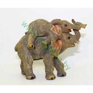 Слон со слоненком керамический 13см